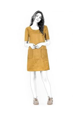 Simple Dress  - Sewing Pattern #4517 Made-to-measure sewing pattern from Lekala with free online download. Loose fitting, Darts, Zipper closure, Round neck, Short sleeves, Set-in sleeves, Above knee, Straight skirt, Patch pockets