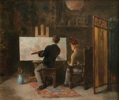 In The Artist's Studio. William Thorne (American, 1864-1956). Oil on panel. After deciding to continue his artistic education abroad, Thorne traveled to Paris sometime around 1890. He studied for three years at the Académie Julian with Jules Lefevbre and Jean-Paul Laurens, also working with Jean Joseph Benjamin-Constant. During his three years in Paris, Thorne's portrait clients were most often Americans living in France.