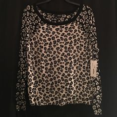 a.n.a sweater New with tags; size large; black and white cheetah pattern; 100% cotton a.n.a Sweaters Crew & Scoop Necks