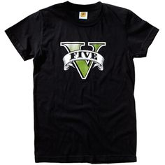 """Grand Theft Auto V Tee, $20 - This soft black 100% cotton tee features the familiar """"V"""" emblem on its front and a small Rockstar logo right below the neckline on the back."""