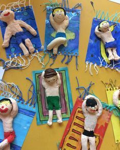 Suitable for the summer holidays: beach life class .- Passend zu den Sommerferien: Strandleben 🏖 🏝 Klasse ☺️ Suitable for the summer holidays: beach life 🏖 🏝 class ☺️ lessons school - Kids Crafts, Summer Crafts For Kids, Art For Kids, Arts And Crafts, Clay Crafts, Summer Art Projects, Clay Projects, Projects For Kids, Arte Elemental