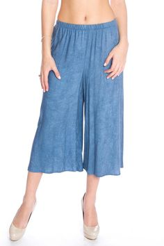 Airy and breezy relaxing fit gaucho pants made in a acid wash jersey fabric with elasticized waist band. Model is wearing size XS Jersey Gaucho Pants by LA Roxx. Clothing - Bottoms - Pants & Leggings - Flare & Wide Leg Clothing - Bottoms - Pants & Leggings - Cropped Miami Florida