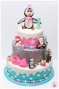 Winter penguin themed Birthday cake