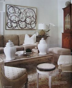 Love the bold, graphic art in a traditional space.