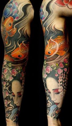tattoo sleeve with Japanese motif, but not Japanese design language #tattoo #tattoos #tattoopictures