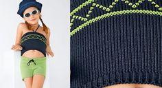 Voici la panoplie idéale pour jouer les coquettes tout l'été : un top et son short assorti. L'ensemble est tricoté en jersey, le haut est souligné d'une frise en jacquard. ...