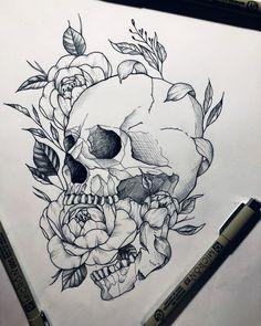 Skull skulltattoo tattoo tattooed tattooartist peony peonytattoo artwork by ninesque really amazing work! Skull Tattoo Flowers, Skull Rose Tattoos, Flower Skull, Flower Tattoos, Body Art Tattoos, Sleeve Tattoos, Peonies Tattoo, Tatoos, Belly Tattoos