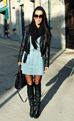 denim dress with a fall winter flare!