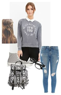 """school days"" by lynncantdance on Polyvore featuring Forever 21, Frame Denim, Converse and Wet Seal"