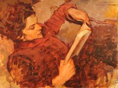 """""""A Favorite Book"""" 12"""" x 16"""" Oil on Panel"""