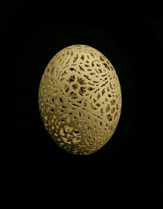 sketch a flower and vine pattern on the clean blown shell and use a high speed drill to hand carve the design shown above. Each egg I create is a wonder of nature, a rare and beautiful work of art.  See the carving process at: http://www.youtube.com/watch?v=_XZ-TFuIxDQ