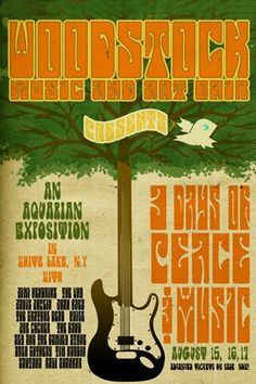 Woodstock Music and Art Fair Poster Woodstock Poster, Woodstock Music, Woodstock Festival, Rock Posters, Band Posters, Hippie Posters, Vintage Concert Posters, Vintage Posters, Rainbow Gathering