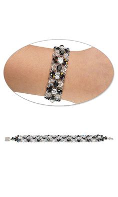 Bracelet with Swarovski Crystal Beads and Spacer Bars and Seed Beads