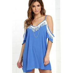 Orchard Ridge Blue Lace Dress featuring polyvore, women's fashion, clothing, dresses, blue, fringed dresses, cut-out shoulder dresses, lace dress, blue lace dress and shift dress