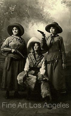 Photo-of-Three-Cowgirls-1900-10-5x17-034-image-on-13x19-034-archival-paper