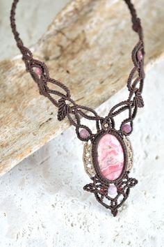 インカローズマクラメネックレス・チョーカー - 旅する天然石とマクラメアクセサリーのお店 Macrame Jewelry MANO