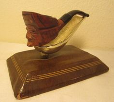 Vintage Hand Carved Jolly Roger Pirate Briar Estate Tobacco Smoking Pipe Italy