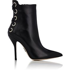 Paul Andrew Women's Bayridge Ankle Boots ($649) ❤ liked on Polyvore featuring shoes, boots, ankle booties, ankle boots, black, leather booties, high heel ankle boots, black high heel booties, high heel booties and black lace up boots