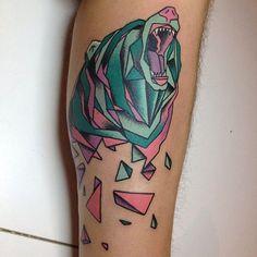 Geometric Bear Tattoo   let's get tattoos   Pinterest