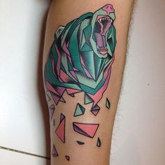 Colorful-Geometric-Bear-Tattoo-Design-For-Forearm.jpg (612×612)