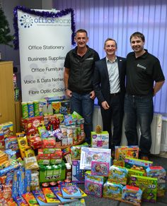 Rob and Paul with Cordell (CEO CCP). Officeworx's CCP Hamper Scamper donation Christmas 2014! Katie and Kate had great fun getting the most for our money in the bargain food and toy shops!