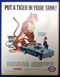 "Original 1965 ""Put a Tiger in Your Tank"" ESSO Gasoline Art PRINT AD - Police Car"