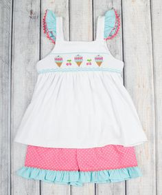 Look what I found on #zulily! Pink Ice Cream Smocked Tank & Shorts - Infant, Toddler & Girls by Stellybelly #zulilyfinds