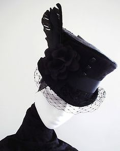 TOP HAT MOURNING VEIL GOTHIC VICTORIAN RIDING BRIDAL 6ce0e3b981d