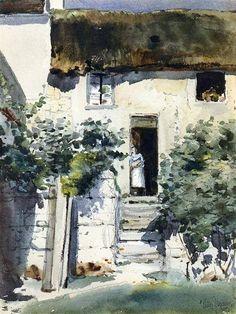 Frederick Childe Hassam, Girl in a doorway on ArtStack #frederick-childe-hassam-1859-1935 #art
