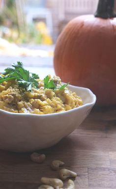 pumpkin cauliflower risotto. #creamy #paleo Pumpkin Sauce, Pumpkin Puree, Cauliflower Risotto, Sage Sausage, Vegan Parmesan, Risotto Recipes, Gluten Free Pasta, Fresh Herbs, Grain Free