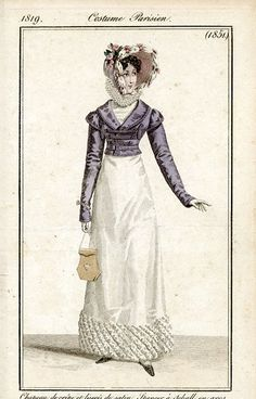 Journal des Dames et des Modes, Costume Parisien, 1819, including spencer with military fashion influence.