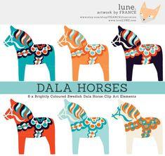 3 FOR Bright Dala Horse Clip Art. Art Clip, Horse Clip Art, Dala Horse, Swedish Tattoo, Vintage Clip Art, Tattoo Muster, Horse Clipping, Scandinavian Folk Art, Scandi Art