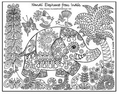 free print, embroidery patterns, coloring pages for big kids, animals, folk art, colouring pages, coloring sheets, coloring pages elephants, printabl