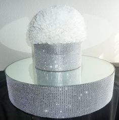 18 or 20 round rhinestone mesh mirror cake stand silver bling wedding cake separator riser pop stand candy buffet centerpiece cupcake display This chic silver bling cake stand / cake riser is made of very sturdy, bakery approved lightweight materials (dense foam) with faux