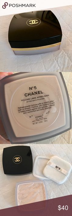 NEW Chanel No 5 After Bath Powder Brand new / never used, but no box. Chanel Poudre Libre Apres-Bain/After Bath Powder is a silky powder that absorbs moisture after a bath, leaving skin scented with inimitable Nº5. Unique loose powder absorbs moisture for cooling comfort as it imparts a light, luminous finish, leaving skin soft, silky and scented. It also contains vitamin E and essential amino acids to protect from free radical and environmental damage. Currently retails online for $72…