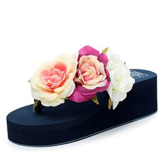 Summer style women shoes muffin sandals flip flops slope with non-slip Rose high heels   slippers female zapatillas mujer s234