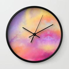 Whimsical Sky Wall Clock by Jess Morris - Black - Black Wall Clock Wooden, Wood Wall Art, Teen Wall Art, Bedroom Bed Design, Cool Clocks, Indian Folk Art, How To Make Wall Clock, Wall Clock Design, Green Gifts