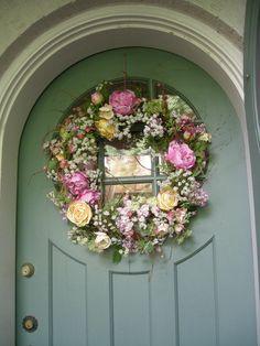 Sage Green Cottage Door...with wreath.