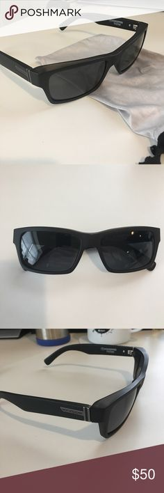 Von zipper Fulton polarized Satin black frames with polarized gray/black lenses. These are used, but the lenses are flawless.  Comes with the microfiber bag. Everything is genuine. Von Zipper Accessories Sunglasses