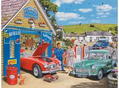 This bright and colourful 500 piece puzzle by popular painter Trevor Mitchell depicts a nostalgic scene of a mechanic chatting to a customer as she collects her Morris Minor from his garage. Artist Canvas, Canvas Art, E Motor, Nostalgic Art, Ravensburger Puzzle, Morris Minor, Austin Healey, Automotive Art, Car Painting