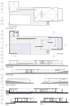 Barcelona Pavilion drawing 1929  Ludwig Mies van der Rohe. Scale: 1: 100.