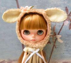 Blythe Doll Helmet / bunny / lamb / OOAK by AltheasDollHouse, $34.90
