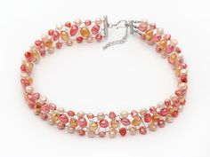 Aypearl.com--Orange and Pink Color Freshwater Pearl Wire Crocheted Choker Necklace