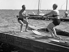 """"""" Waterskiing """" Loosdrecht Holland, 1953. photo: Kees Scherer"""