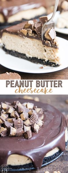 This peanut butter cheesecake is a perfectly creamy cheesecake with the flavor of a peanut butter cup, with a chocolate cookie crust, peanut butter cheesecake filling, chocolate ganache, and all topped with chopped up peanut butter cups!