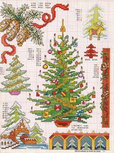 Новогодние идеи для вышивки крестом -- елки на любой вкус