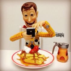 hahahaha. woody becoming part of the people who obsessively instagram photos of food
