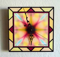 Stained Glass Art Tile Wall/Desk Clock Wall Desk, Desk Clock, Wall Watch, Stained Glass Art, Tile Art, Clocks, Mosaic, Watches, Glasses