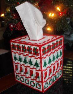 Christmas Sampler Tissue Box  Cover
