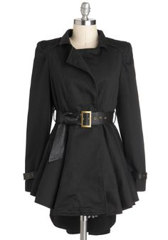 Dirigible Decorum Coat - Black, Buckles, Pleats, Film Noir, Long Sleeve, Belted, Fit & Flare, Long, 2, Solid